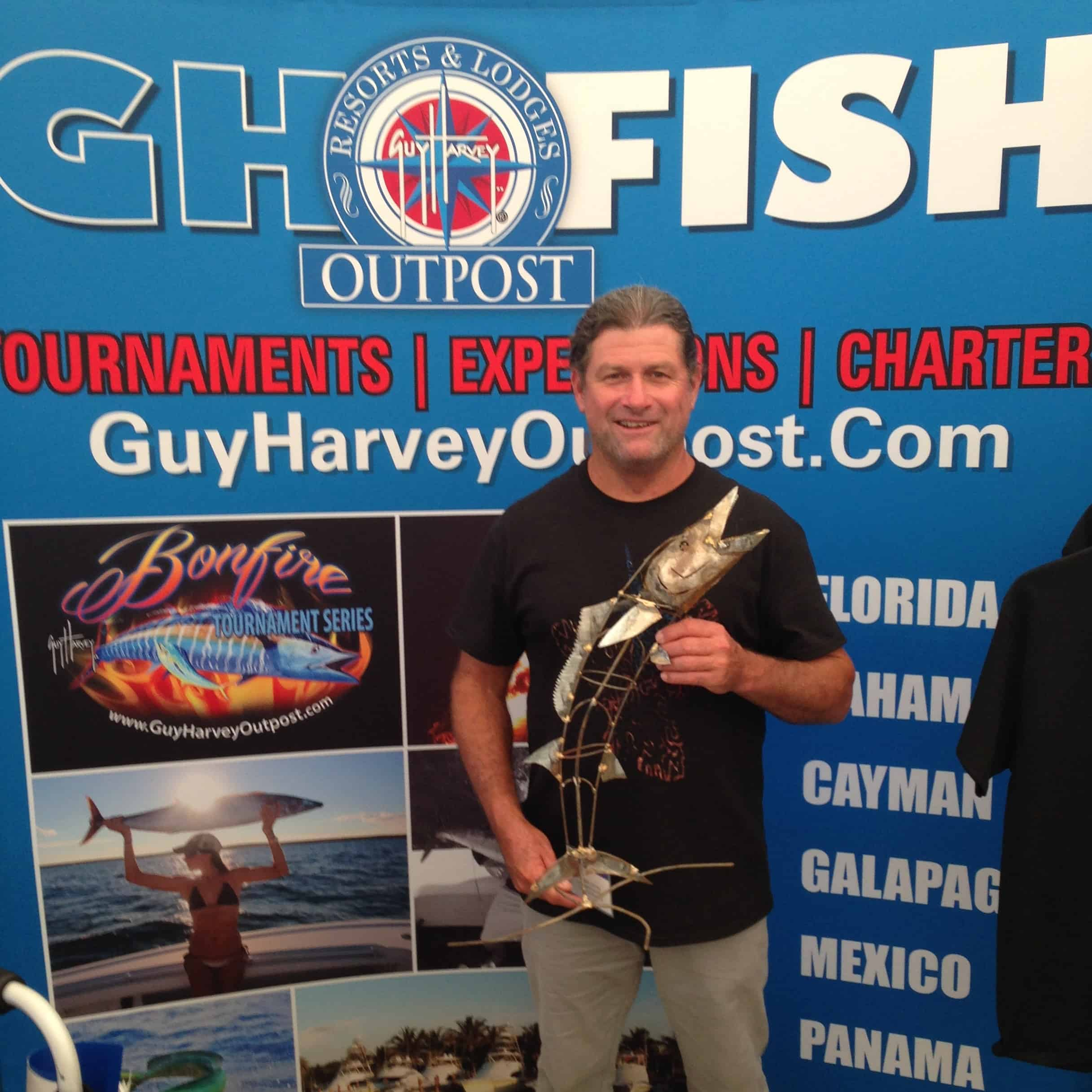 Bobby Little with a miniature Wahoo at the Stuart Boat Show.